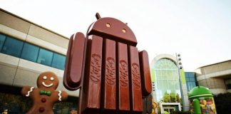 Android KitKat-figur uden for Googleplex