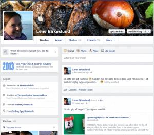 Facebook-opdatering, som indikerer jeg er væk hjemmefra