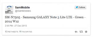 SamMobile tweet, der lækker produktnavnet på Galaxy Note 3 Lite