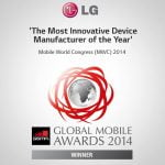 LG vinder innovations-pris til Global Mobile Awards 2014 ved MWC (Foto: LG)