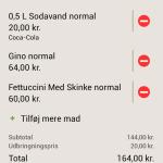 "Screenshots fra applikationen ""Hungry.dk"""