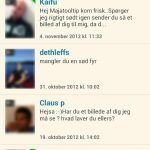 Screenshots fra applikationen Dating.dk