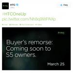 HTC tweet i forbindelse med Samsung Galaxy S5 præsentation (Kilde: Twitter)