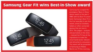 Best In Show til MWC 2014 blev Samsung Gear Fit (Kilde: Mobile World Live)