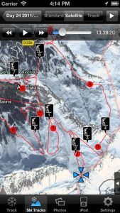 Screenshots fra applikationen Ski Tracks