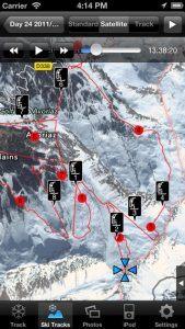 Screenshots fra applikationen Ski Tracks