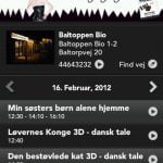 Screenshots fra applikationen Kino.dk