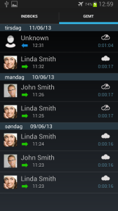 Screenshots fra applikationen Automatic Call Recorder