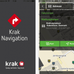 Screenshots fra applikationen Krak Navigation
