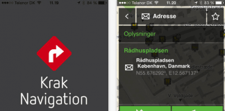 Screenshots fra applikationen Krak Navigation