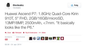Specifikationerne lækket af @Evleaks på Huawei Ascend P7