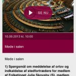 Screenshots fra applikationen Tv fra Folketinget