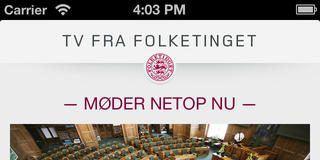 Screenshots fra applikationen Tv fra Folketinget