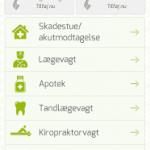 Screenshots fra applikationen Akuthjælp fra Danske Regioner
