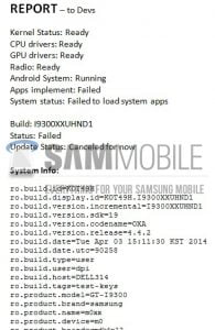 Dokument der viser, at Android 4.4 KitKat opdateringen fejler på Galaxy S III (Kilde: Sammobile)