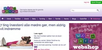 Nyt design på Min-Mave.dk. Billede viser designet på computer.