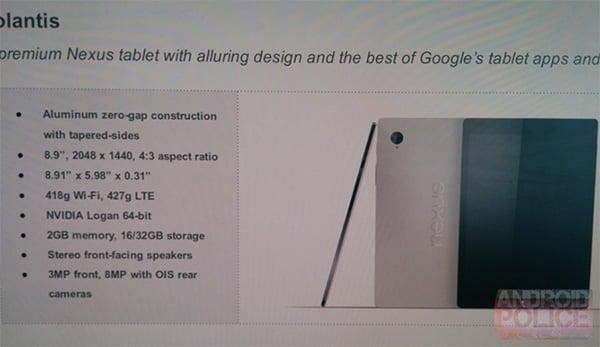 HTC Volantis (nye Nexus-tablet). Kilde: Android Police