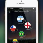 Screenshots fra SocialSoccer App til World Cup