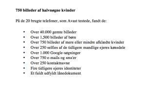 Disse ting fandt Avast på de 20 brugte telefoner