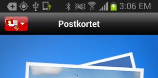 "Screenshots fra applikationen ""Postkortet"""