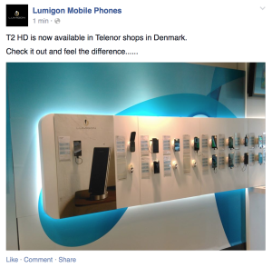Lumigon T2 HD til salg i danske Telenor-butikker