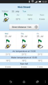 Her vises informationer om vejret ved den nærmeste strand. Tjek badevandstemperaturen