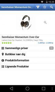 Prisforslag til de nye hovedtelefoner i Pricerunner