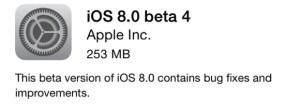 iOS 8 beta 4 (Kilde: GSMArena.com)
