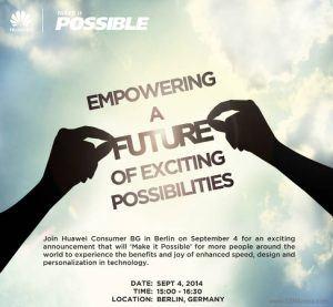 Invitation til Huawei presse-event til årets IFA-messe 2014