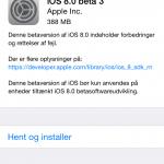 Screenshot af iOS 8 beta 3 opdatering