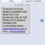 SMS-svindel eksempel