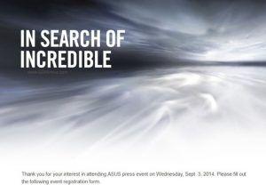 Asus invitation til IFA 2014 (Kilde: GSMArena.com)