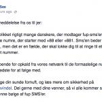 Advarsel på Facebook fra TDC angående svindelnumre