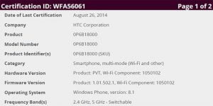 WiFi Alliance certificering af HTC One M8 Windows Phone