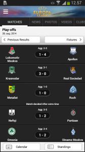 Oversigt over Europa League kampe med UEFA applikation