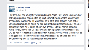 Danske Bank oplyser på Facebook, at de er spændt på Apple Pay