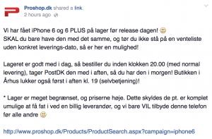 Screenshot - iPhone-salg hos ProShop.dk