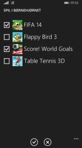 Her vælges hvilke spil, der skal være adgang til