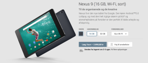 Køb Nexus 9 via Google Play Store