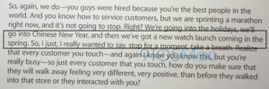 Her ses samtalen, hvor en leder hos Apple afslører at Apple Watch først kommer til foråret i 2015