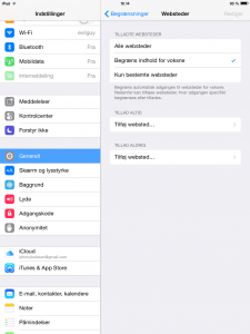iPad forældre begrænsning