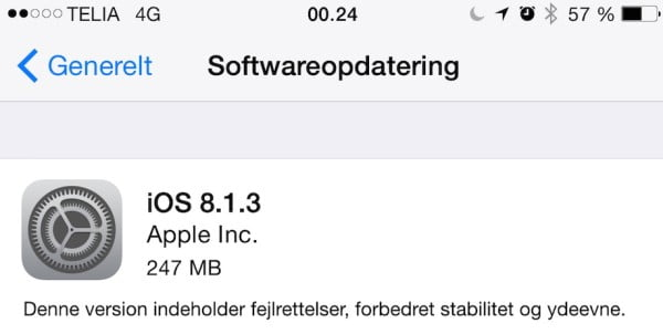 Softwareopdatering iOS 8.1.3.