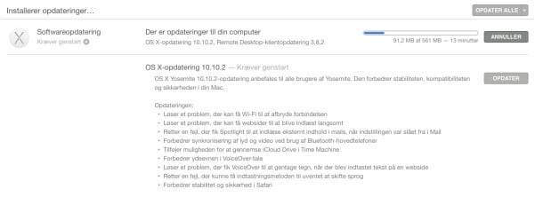 Softwareopdatering OS X 10.10.2.