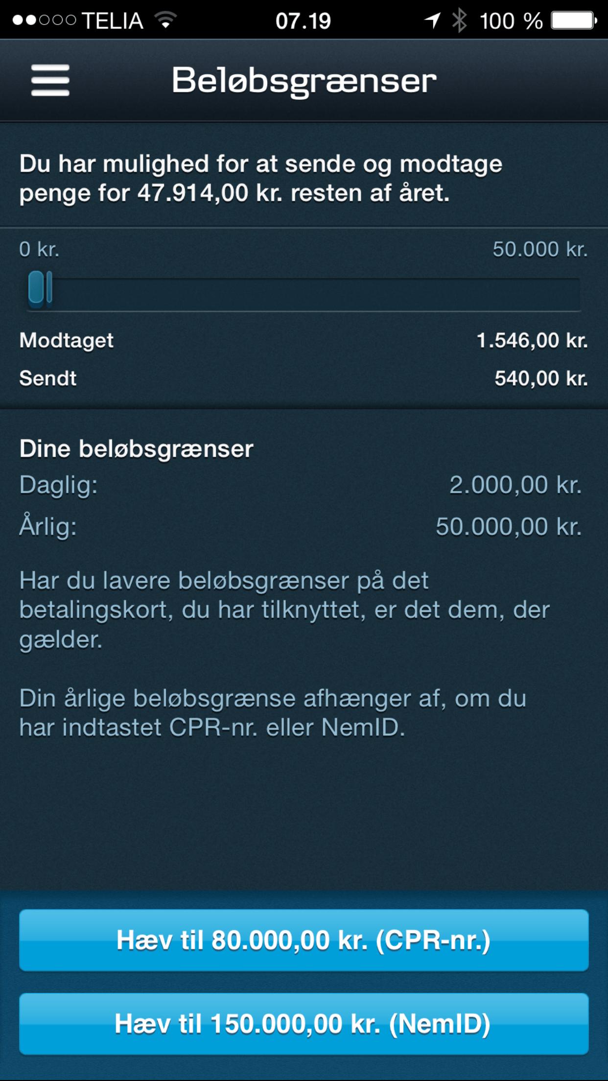 beløbsgrænse på mobilepay