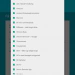 Nexus 9 - Vælg apps til gendannelse