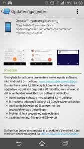 Opdatering til Xperia Z3.
