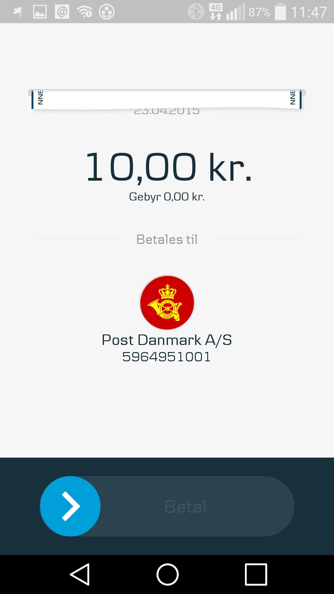 Betal portoen med MobilePay