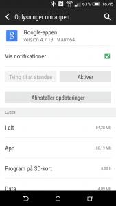 Deaktivering af Google-appen