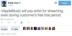 Tweet 22. juni 2015 fra Apple VP Eddy Cue