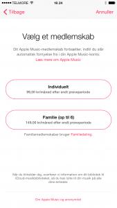 Danske priser på Apple Music hentet fra iOS 8.4 beta 4 den 17. juni 2015 (Foto: MereMobil.dk)